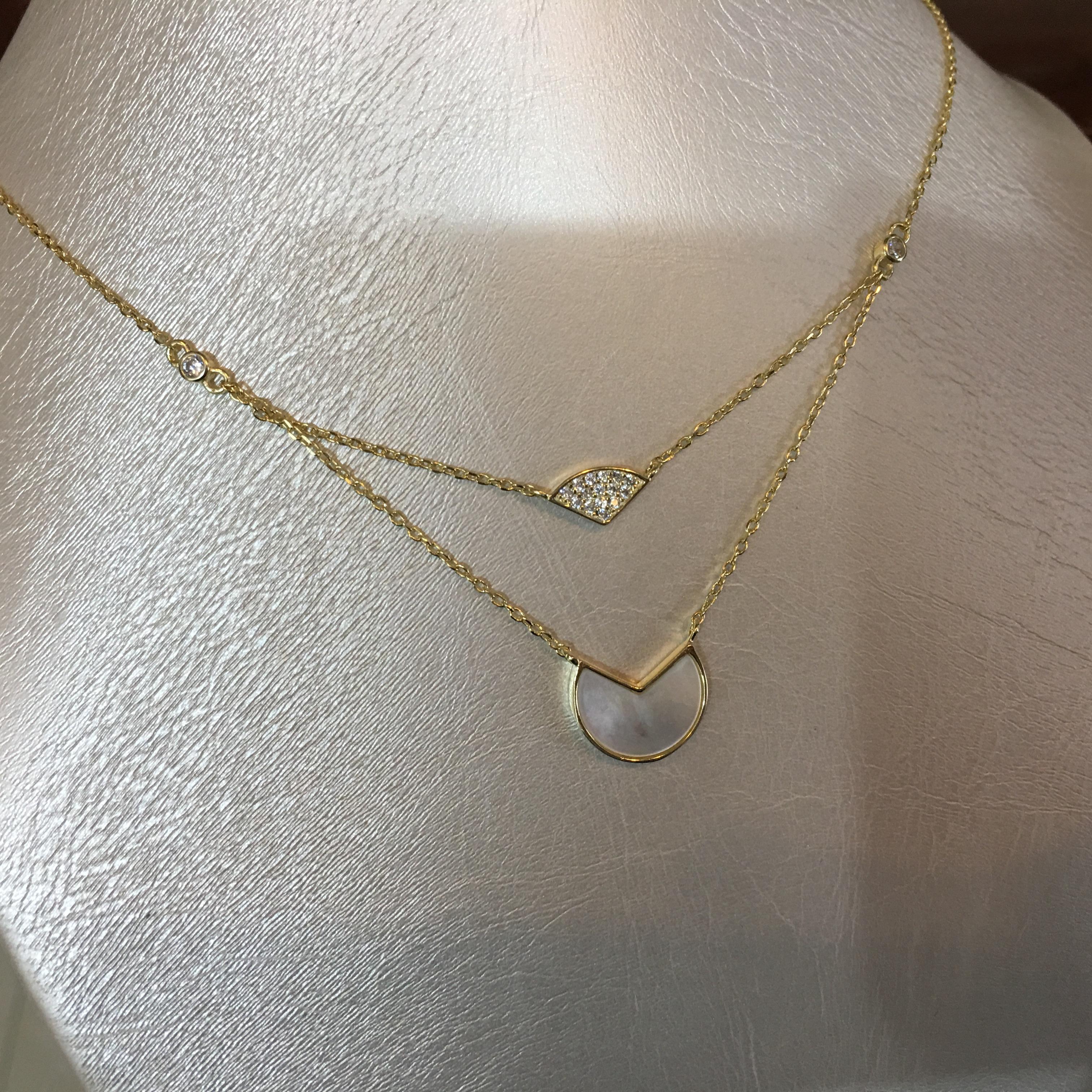 法式天然母贝双层项链