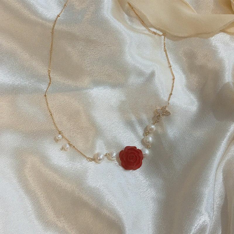 法式复古天然珍珠锁骨链